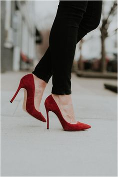 Red Stiletto Heels * Red Suede Heels * Valentine's Day Outfit Inspiration