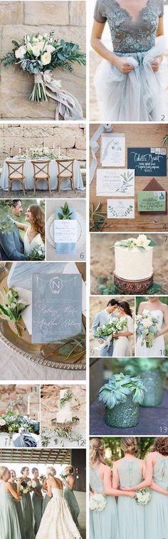 Mezcla tonos de azul Francia con verde salvia. Delicado y muy elegante. #colores #bodas