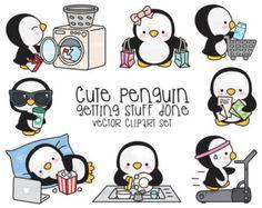 Premium Vector Clipart - Kawaii Pearl il pinguino - pinguino carino pianificazione Clipart - Download immediato - Kawaii Clipart