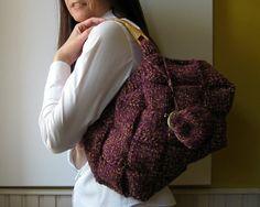 Tweed Purple Tote Bag Knitted with Rattan Handles by knitBranda, $58.00