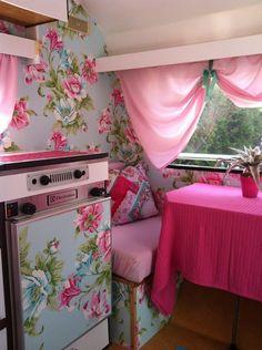 Caravan interior - too much floral? This but toned down, in a vintage american caravan. Caravan Interior Makeover, Trailer Interior, Camper Interior, Trailer Decor, Caravan Vintage, Vintage Caravans, Vintage Travel Trailers, Retro Campers, Camper Trailers
