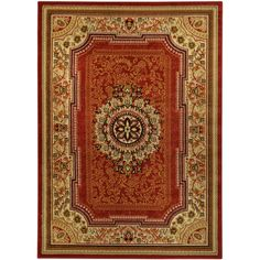 Spice up your home decor with this unique area rug. Designed using easy-to-vacuum and stain-resistant olefin, this stunning rug features a bold red background with a traditional Oriental pattern that will add elegant style to any room.