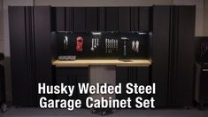 Husky Welded 109 in. W x 75 in. H x 19 in. D Steel Garage Cabinet Set in Black (6-Piece)-GS10806-2W - The Home Depot Garage Cabinets, Base Cabinets, Garage Storage Systems, Steel Garage, Closet Rod, Natural Wood Finish, Hanging Storage, Work Surface, Easy Install