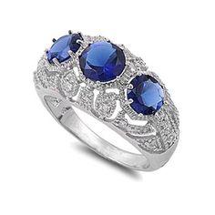 Emilee's Art Deco Style Sapphire Blue CZ Three Stone Ring