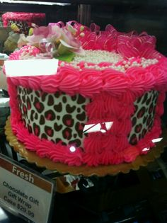 Cute bithday cake for girly girls that love animal print