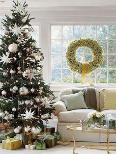 Living Room with Fabric possibilities roll-arm sofa, Carpet, Glass coffee table, Christmas decor, Christmas tree