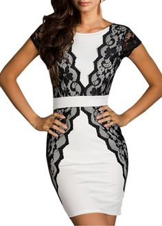 black lace detail white dress