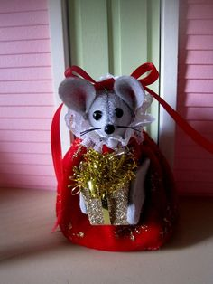 Christmas Lady Mouse Holding a Present by atticmouse on Etsy, $12.00