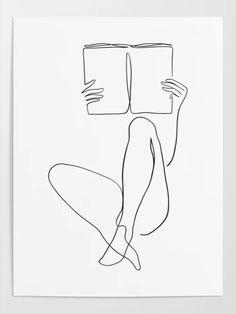 Pencil Art Drawings, Cool Art Drawings, Art Drawings Sketches, Line Drawing Art, Line Drawings, Lady Drawing, Minimal Drawings, Book Drawing, Minimalist Drawing