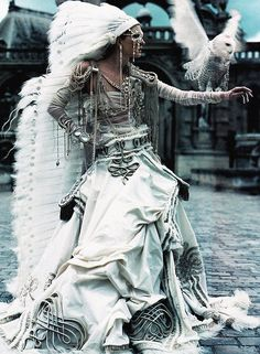 """Maggie Rizer wears Jean Paul Gaultier Haute Couture Fall/Winter 2002 in """"The Life Fantastic"""" for W October 2002 photographed by Craig McDean..."""