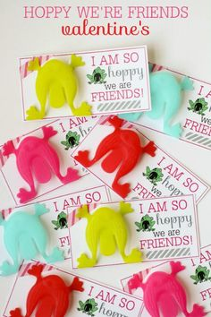 I am hoppy we are friends frog Valentine and 28 Printable Valentines for the Kids - fun printables for homemade valentines on Frugal Coupon Living.