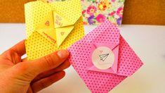 Süßer Origami Umschlag   für kleine Nachrichten zum Ausklappen   einfach & schnell   Karte falten