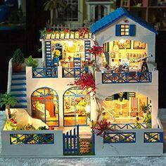 Rylai Handmade Wooden Dollhouse Miniature DIY Kit -Large Villa & Dollhouses Kits/ Furniture Kits X'mas Gift