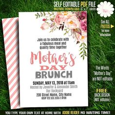Mother's Day invitation, Printable Mother's day invite, Mother's day templates, Instant download Self Editable PDF A689