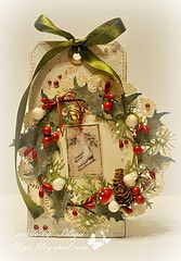 Tag. Christmas wreath.