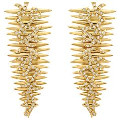Tribal Yellow Gold Earrings by HUEB ($8,080) ❤ liked on Polyvore featuring jewelry, earrings, gold, pave diamond earrings, drusy earrings, tribal jewelry, tribal jewellery and gold earrings jewelry