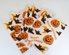 Vintage Halloween Bat and Pumpkin Bag Trick or by teresatudor, $3.00