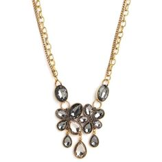 BaubleBar Gray Marie Necklace ($34) ❤ liked on Polyvore featuring jewelry, necklaces, floral necklace, oversized jewelry, baublebar jewelry, tear drop necklace and floral jewelry