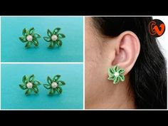 How To Make Quilling Stud Earrings Tutorial / Paper Quilling Earrings / Design 37 Quilling Studs, Paper Quilling Earrings, Paper Quilling Designs, Quilling Ideas, Quilling Craft, Quilling Patterns, Gold Bar Earrings, Statement Earrings, 14 Carat