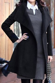 Long Sleeve Tweed Winter Coat High Quality