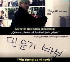 """Siento arruinarles el paraiso, pero dice """"Min YunGi babo"""" lo que al español, sería """"Min YoonGi tonto"""" ;;;;;"""