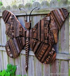 Giant Wooden Picture Frame Molding Butterfly for the garden fence
