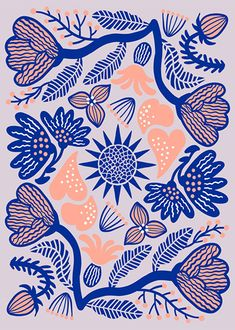 Orie Kawamura【Brilliant flowers】#illust #textile #design #花 #botanical #イラスト #北欧デザイン #北欧イラスト #テキスタイル #pop Surface Pattern Design, Botanical Illustration, Textile Design, Scenery, Textiles, Graphics, Quilts, Patterns, Flowers