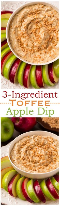 Toffee Apple Dip - this is seriously IRRESISTIBLE! Just cream cheese, brown sugar and toffee bits.