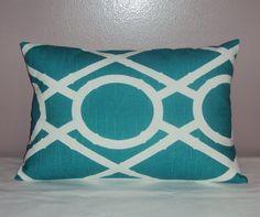 18x12 Robert Allen Teal Lattice Decorative Lumbar Pillow by idari