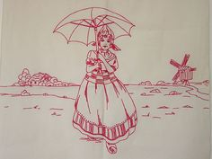 https://flic.kr/p/d9ug4   Überhandtuch - Dutch Girl with Umbrella - Detail   I liked the little details in the landscape the girl was put.