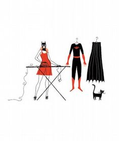 Cat woman does laundry?
