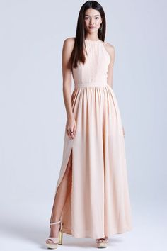 Peach Lace Insert Maxi Dress