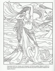 Venus Greek beauty goddess detailed coloring pages for grown ups