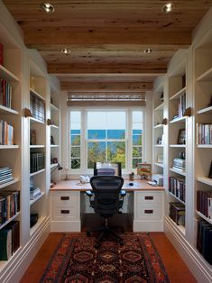 , Traditional Home Office Decorating Ideas With Modern White Desk With Brown Board Countertops Also Untreated Wooden Ceiling Also White Bookshelves And Modern Black Swivel Chair: Tremendous Home Office Ideas for Men