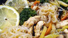 Wok de fideos Shirataki de Konjac, pollo y verduras. Dieta Dukan, fase Crucero.