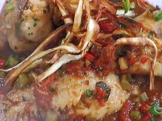 Fish Stew recipe from Emeril Lagasse via Food Network.made it with brook trout, skin on and a cup of white wine.add some grated parmesan on top for perfect flavor and a dollop of whole milk greek yogurt or sour cream if desired Slow Cooker Recipes, Cooking Recipes, Chef Recipes, Soup Recipes, Dinner Recipes, Fish Chowder, Fish Stew, Stuffed Banana Peppers, Seafood Recipes