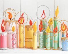 Tutorials – Smile Mercantile Craft Co. Christmas Candles, Noel Christmas, Retro Christmas, Winter Christmas, Christmas Decorations, Candle Decorations, Christmas Paper Crafts, Paper Roll Crafts, Holiday Crafts
