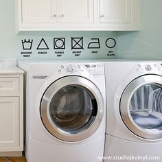 Washing instruction symbols. Printed this to hang in my laundry cupboards. Never can remember what these symbols mean.