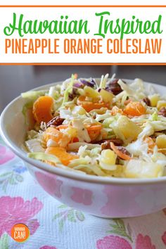 You gotta try this amazing Hawaiian Inspired Pineapple Coleslaw Recipe This pineapple, mandarin orange, cabbage slaw is a perfect side dish for Picnics and BBQ . Hawaiian Coleslaw, Pineapple Coleslaw, Hawaiian Salad, Hawaiian Side Dishes, Hawaiian Recipes, Healthy Nutrition, Healthy Eating, Picnic Side Dishes, Orange