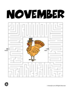 Printable Mazes for Kids Printable Maze for November – Animal Jr. Educational Activities, Toddler Activities, Hidden Pictures Printables, Mazes For Kids Printable, Dots And Boxes, Word Ladders, Thankful For Family, Fall Friends, Mad Libs