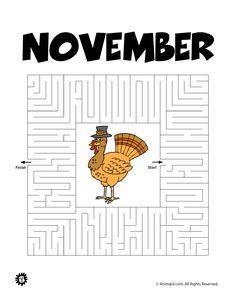 Printable Mazes for Kids Printable Maze for November – Animal Jr.
