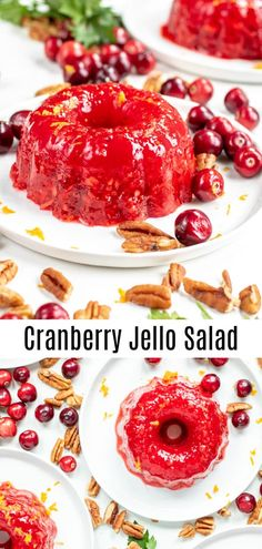 This easy cranberry jello salad recipe makes an amazing thanksgiving side dish recipe or christmas side dish recipe. this was my grandma's favorite Fresh Cranberry Salad, Cranberry Salad Recipes, Cranberry Mold Recipes Thanksgiving, Thanksgiving Snacks, Thanksgiving Sides, Cranberry Sauce, Köstliche Desserts, Delicious Desserts, Dessert Recipes