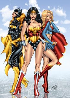 Wonder Woman, Batgirl and Supergirl. When Wonder Woman got the power to fly, in 1986 or so, they could have ditched the heels. Supergirl obviously doesn't need them, since she can hover on tiptoe as long as she likes. Comic Book Characters, Comic Book Heroes, Comic Character, Female Characters, Comic Books, Female Heroines, Female Villains, Superhero Characters, Batwoman