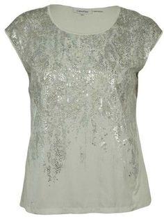Calvin Klein Women's Cap-Sleeve Metallic-Print Top (White, 0X)