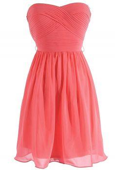 $52~Sweet Surrender Strapless Chiffon Designer Dress by Minuet in Coral