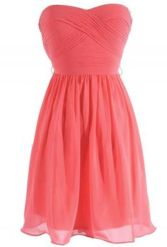 Sweet Surrender Strapless Chiffon Designer Dress by Minuet in Coral, for a bridesmaid?