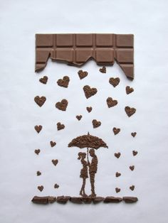 In the Rain. Food Art using Chocolate, Vegetables and Fruit. See more art and information about Ioana Vanc, Press the Image.