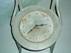 Gray Time to Dream clock Vintage Chair by briarcottage on Etsy