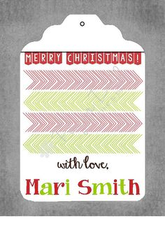 Christmas Gift Tags  Christmas Banner  Set of by PaperDollPrinting