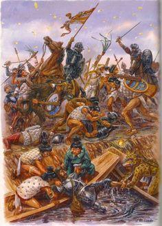 """Aztecs & Spanish Conquistadors, """"La Pintura y la Guerra """"La Noche Triste""""… Conquistador, Military Art, Military History, Medieval, Aztec Empire, Mexican Army, Aztec Culture, Aztec Warrior, Inka"""